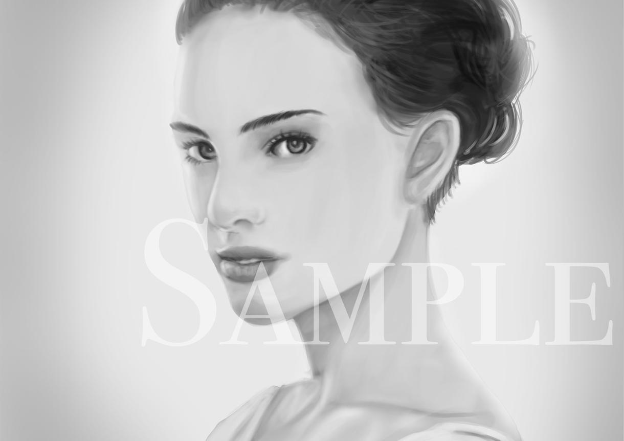美しくリアルな似顔絵をデジタルイラストで描きます スタイリッシュなモノクロイラストに仕上げます!