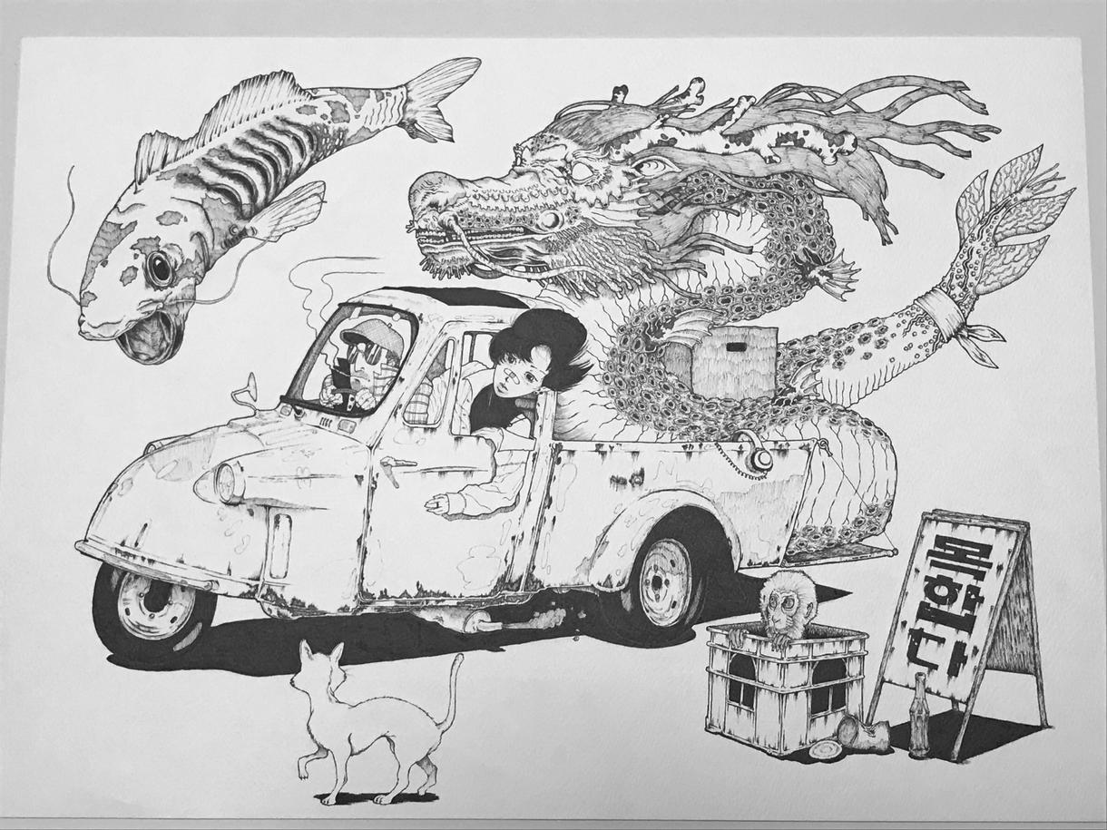 アバンギャルドのオリジナル作品描きます 精密でリアリティとスタイルを合わせた鉛筆・インク作品
