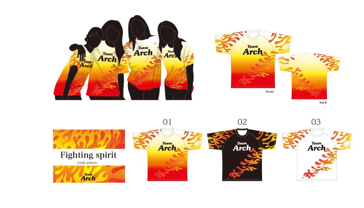 炎柄のマラソンチームTシャツをデザインします 闘志みなぎるファイヤーデザイン(ベースデザイン)