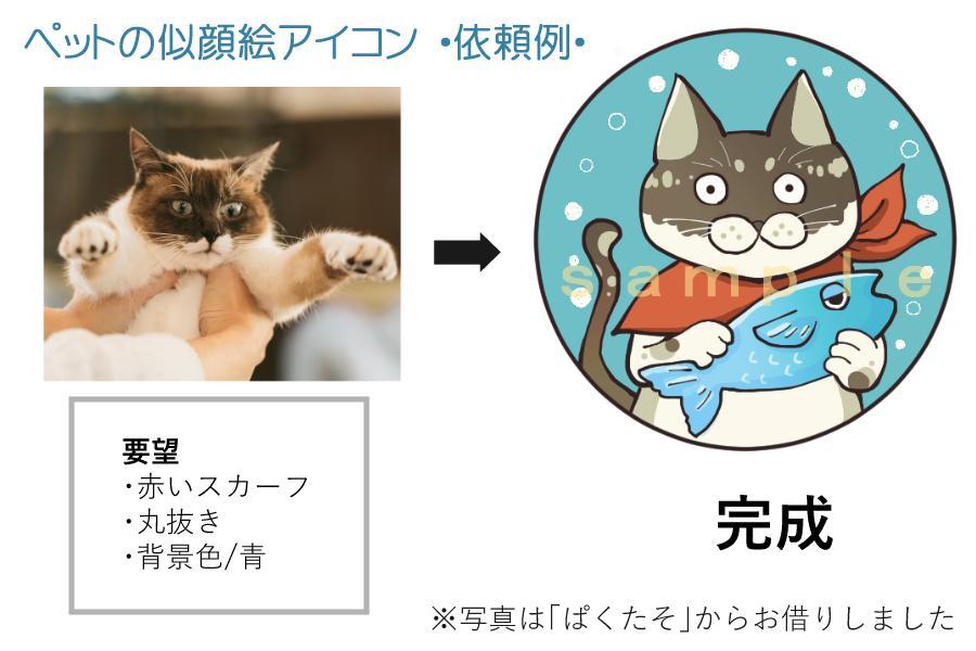 ペットのイラスト・アイコン作成します 大好きなうちの子をキャラクター化!