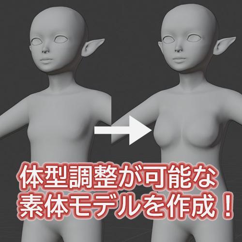 3Dアバターモデルの素体制作承ります モーフで体型調整可能な人型素体がほしい方へご提供致します イメージ1