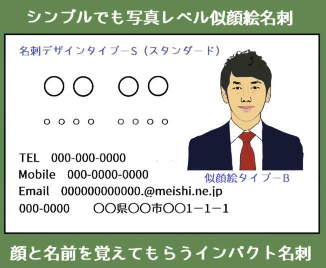 シンプルでも写真レベル似顔絵名刺制作いたします 顔と名前を覚えてもらう似顔絵インパクト名刺