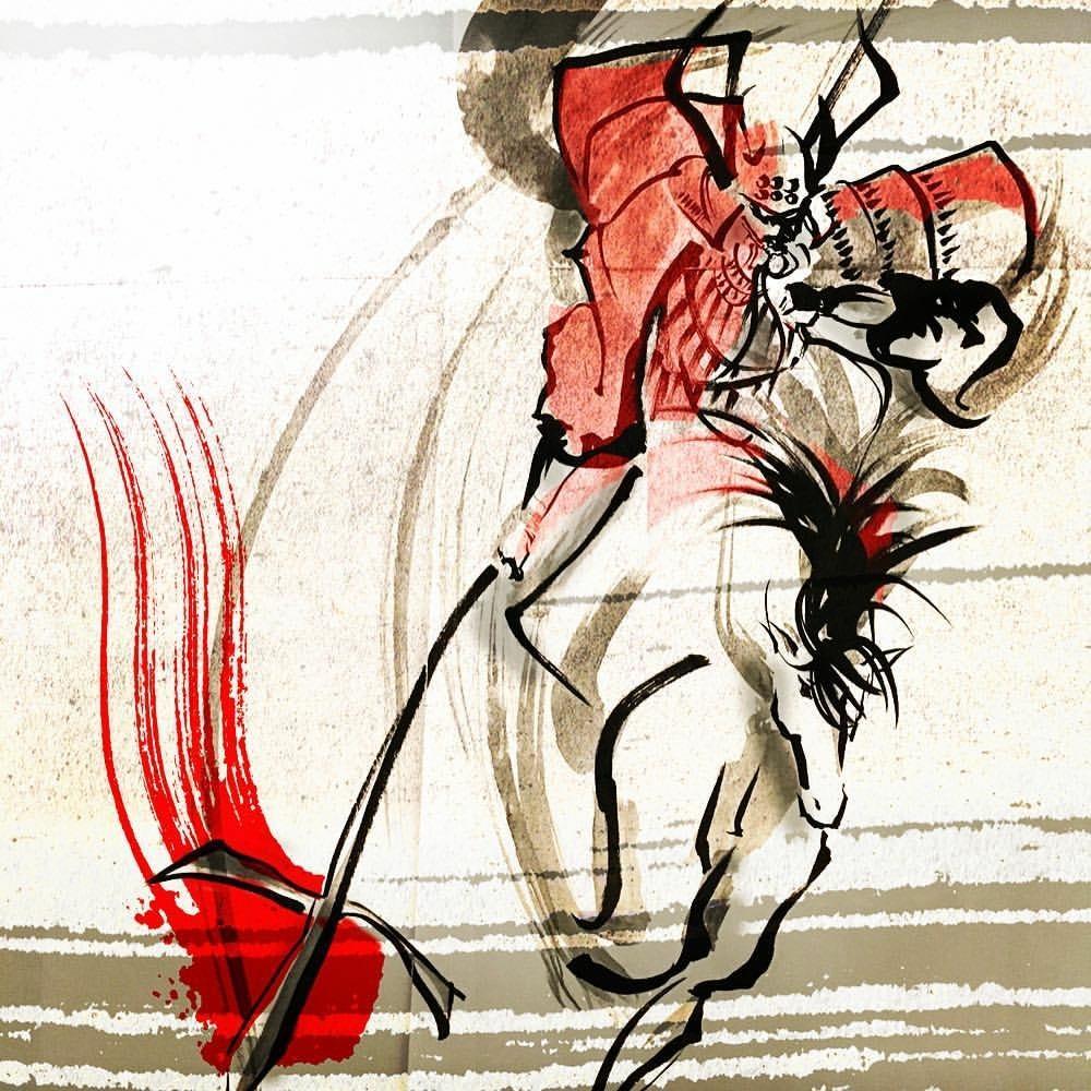 和風モダンなイラスト/デザインご提供いたします ハイアートな光と闇のデジタル墨絵