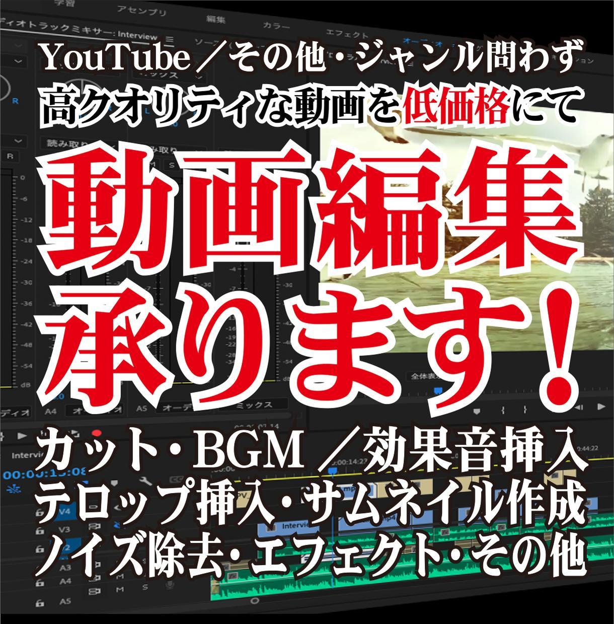 高品質な動画編集を低価格にて!動画編集を承ります Youtube向け・商品PR・結婚式動画等、全ジャンル対応! イメージ1