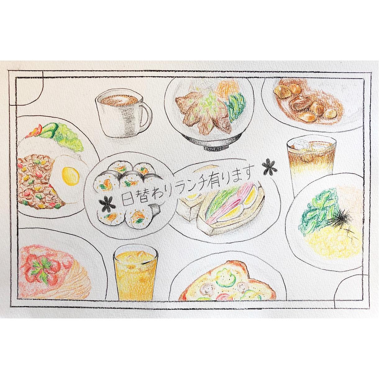 オリジナルのフードイラスト書きます 飲食店でお食事のイラストを取り入れたい方に是非!