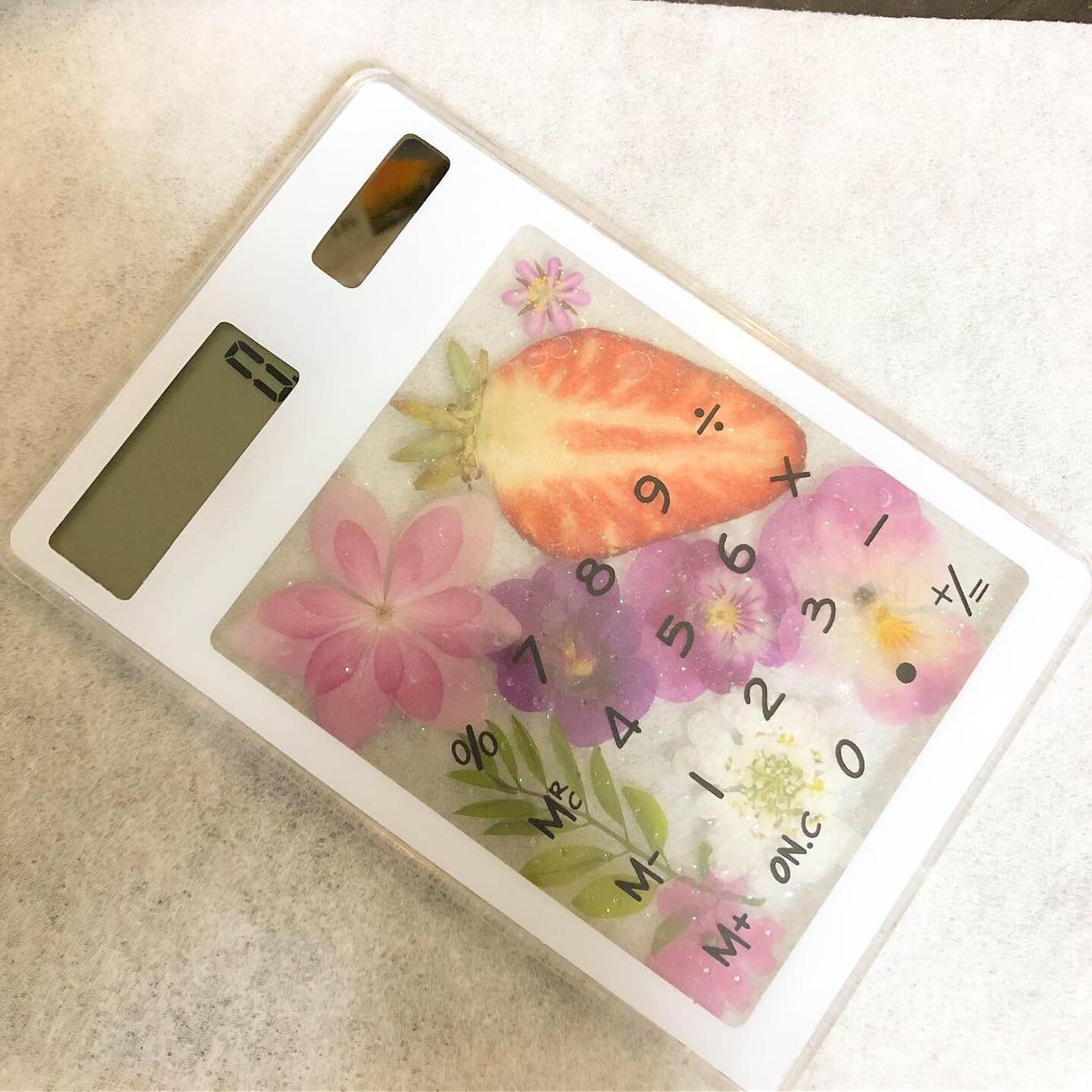 フルーツ電卓作ります ソーラータイプの電卓をフルーツやお花たっぷりに❤️