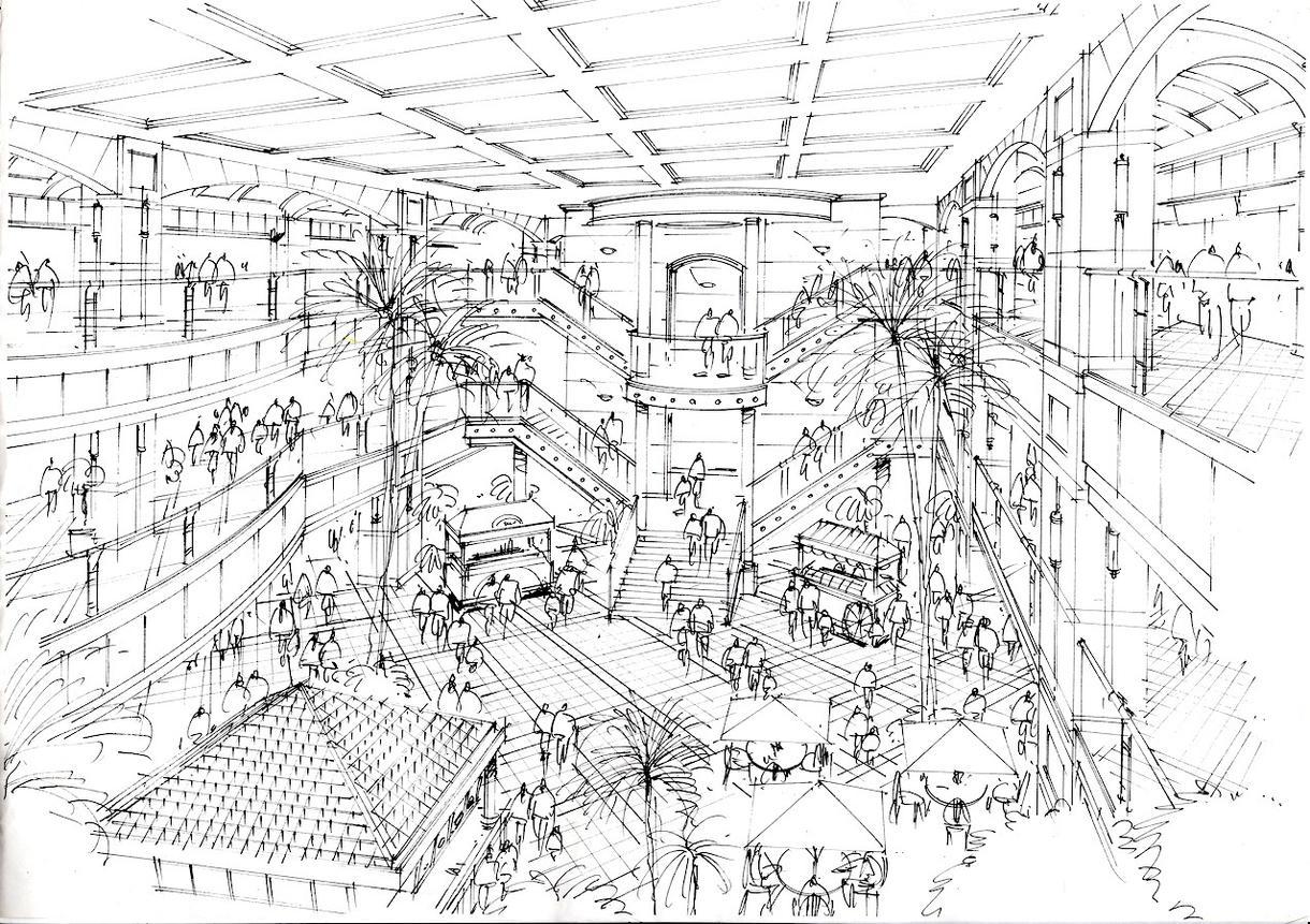 モノクロスケッチ描きます 店舗の内外装スケッチを手描きで仕上げます。 イメージ1