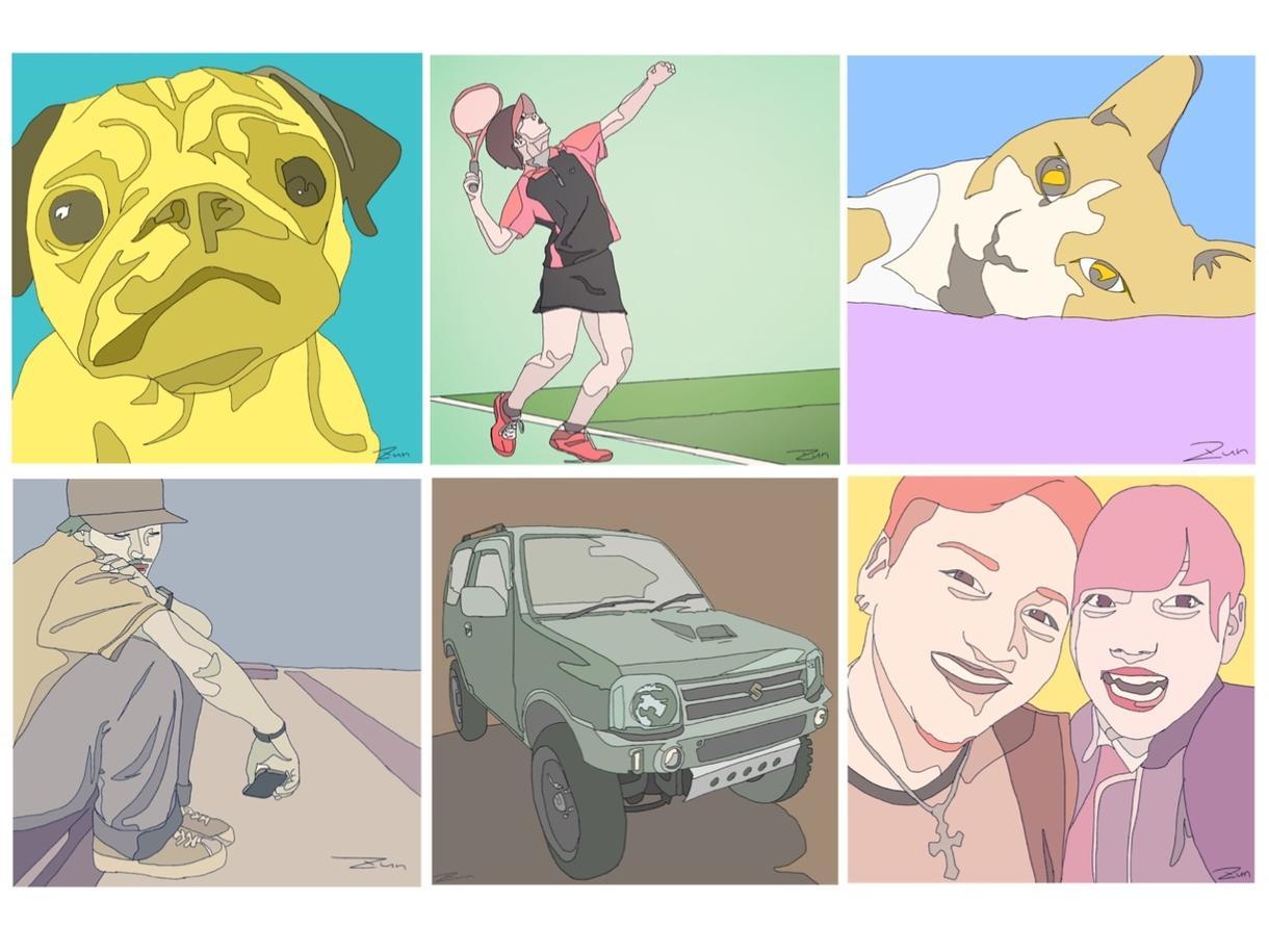 へんてこカラーイラスト描きます 人、ペット、車eat...あなたの「好き」をイラストに!