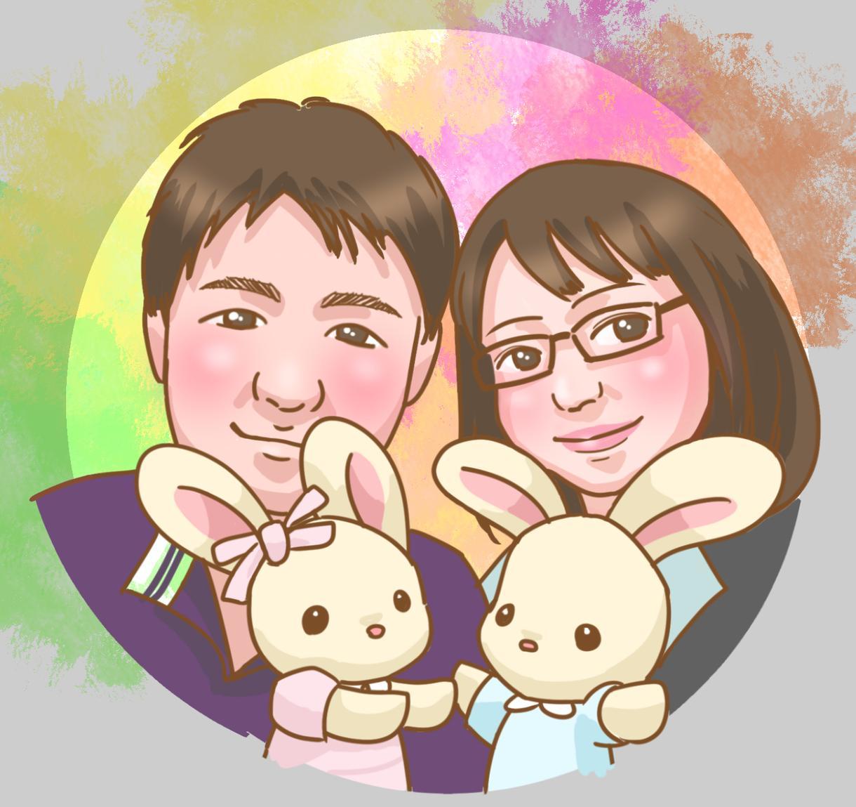 家族の似顔絵アイコン描きます アイコンやちょっとしたプレゼントに!