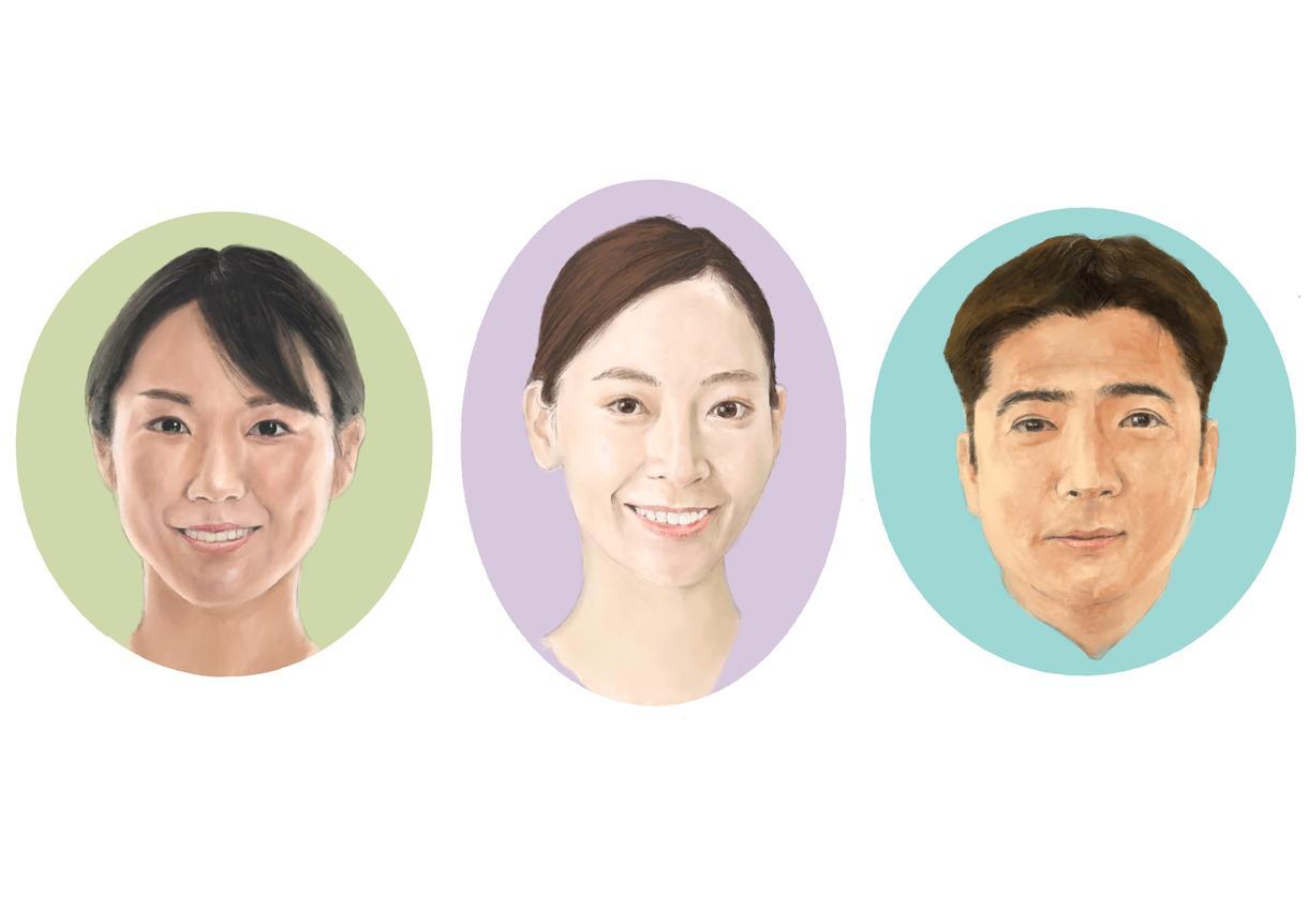 誇張無し、顔写真を元にリアルな似顔絵を描きます やさしい色使いと的確な描写で、色々ちょうどいい似顔絵です。 イメージ1