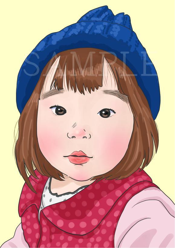 似顔絵お描きします 優しい色合いや、水彩画タッチの似顔絵をお探しの方