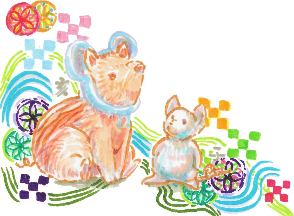 ペットの写真から和風柄の年賀状をお描きします ペットの似顔絵で年賀状を送りませんか?