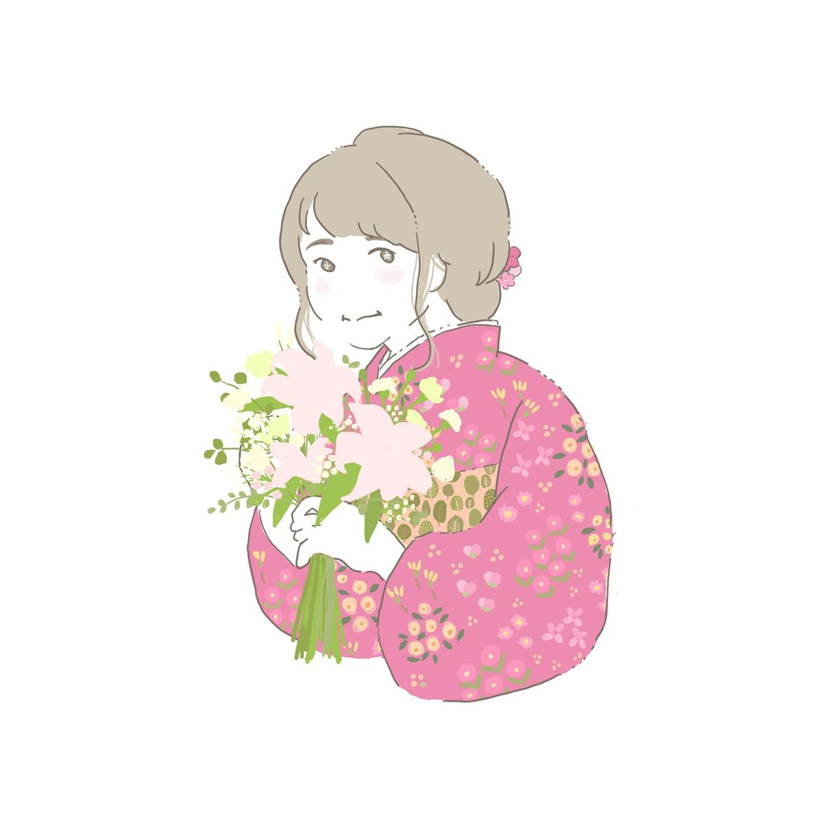 アイコンで使える似顔絵描きます 基本的にお花も描いています。なるべく要望にお応えします。