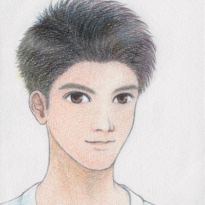 色鉛筆で人物のイラストを描きます アイコンなどにおすすめです(500×500pixel)