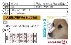 ペット免許証風 デザイン致します 愛犬の自己紹介になにか欲しい方にオススメ