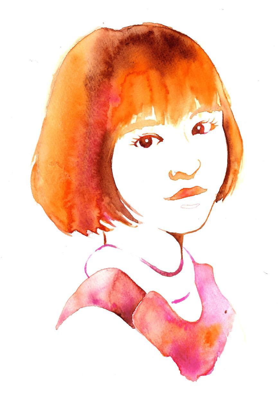 水彩で似顔絵を描きます。
