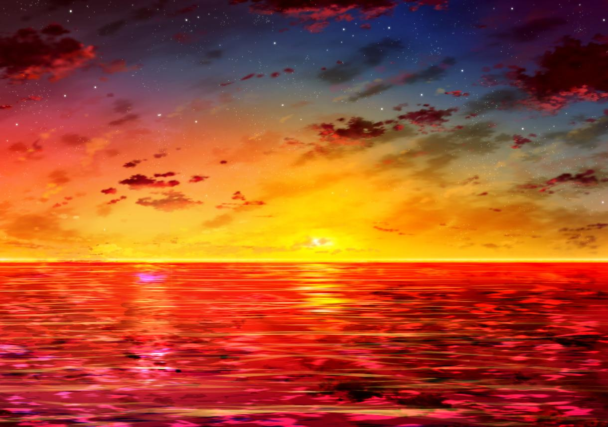 クオリティ高め・値段お手頃の空や海のデジ絵描きます お金が少ない!でも雑じゃない綺麗な空や海の背景が欲しい貴方へ
