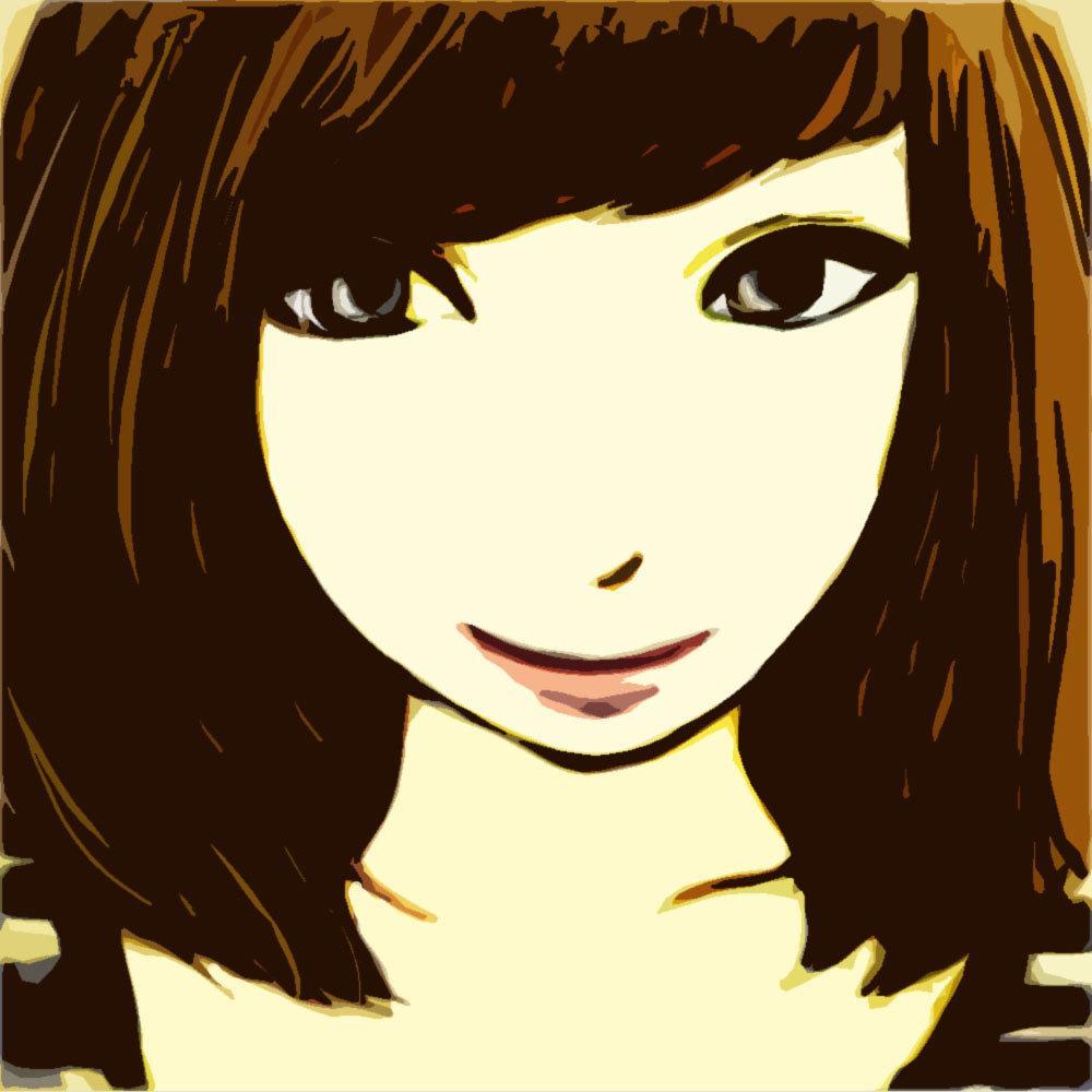 写真 → ベタ塗り風の似顔絵イラスト作ります 各種SNSのアイコンなどにどうぞ