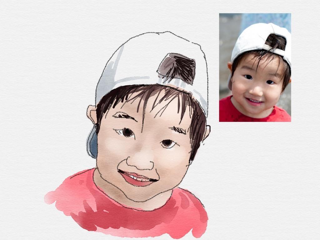 お子様の写真をイラストに します 忘れられない記念やプレゼントにいかがですか?