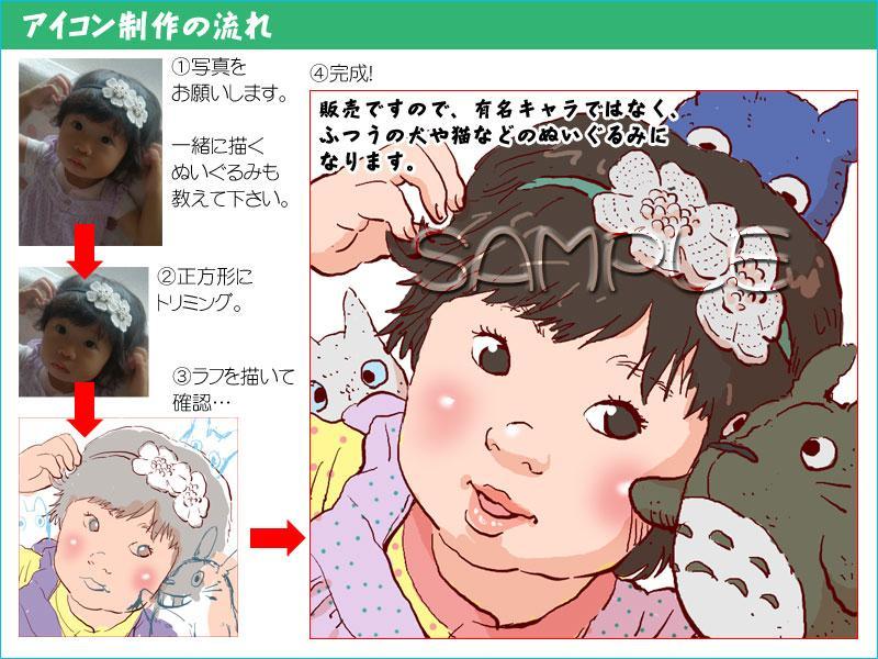 お子さんの似顔絵を、ぬいぐるみと一緒に描きます ★ただの似顔絵じゃなく、もっと可愛い似顔絵はいかがですか? イメージ1