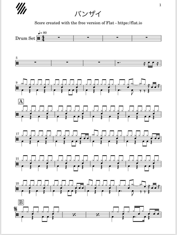 あなたの好きな楽曲のドラム譜を制作してお送りします 自分のレベルに合わせた楽譜で演奏を楽しんでみませんか?