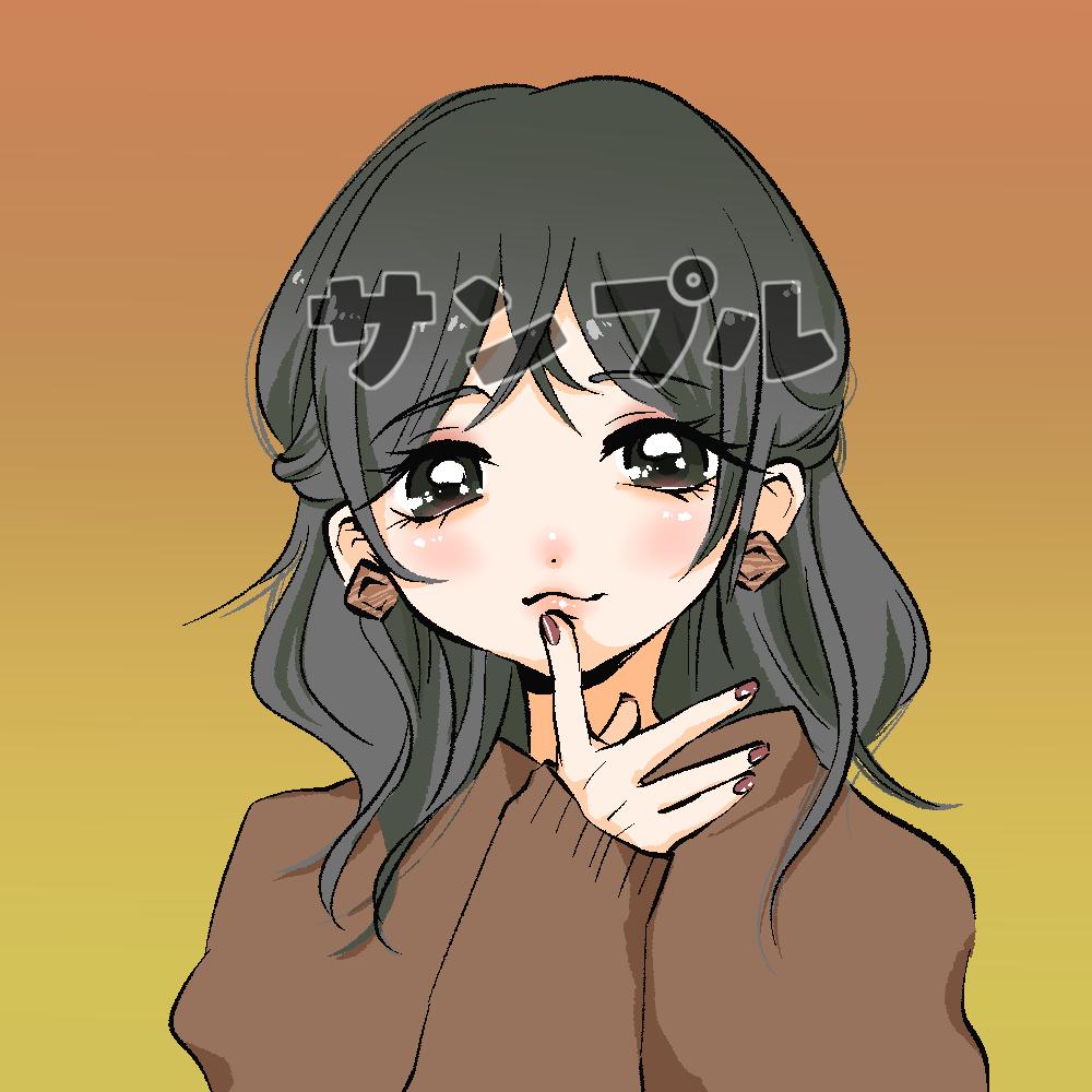 SNSで使う可愛い女子イラスト描きます 可愛いアイコンでSNSを楽しもう!