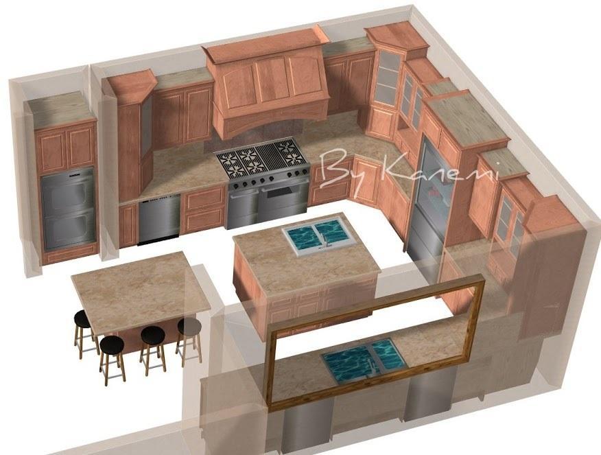 キッチンお部屋のデザインを3D レンダリングします コンピューターの3Dのスペースデザインとレンダーリング