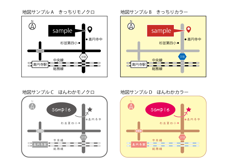 aiデータ付き♪シンプルな地図を作製します 最低限の情報でセンス良く。スッキリ見やすい地図をお求めの方に