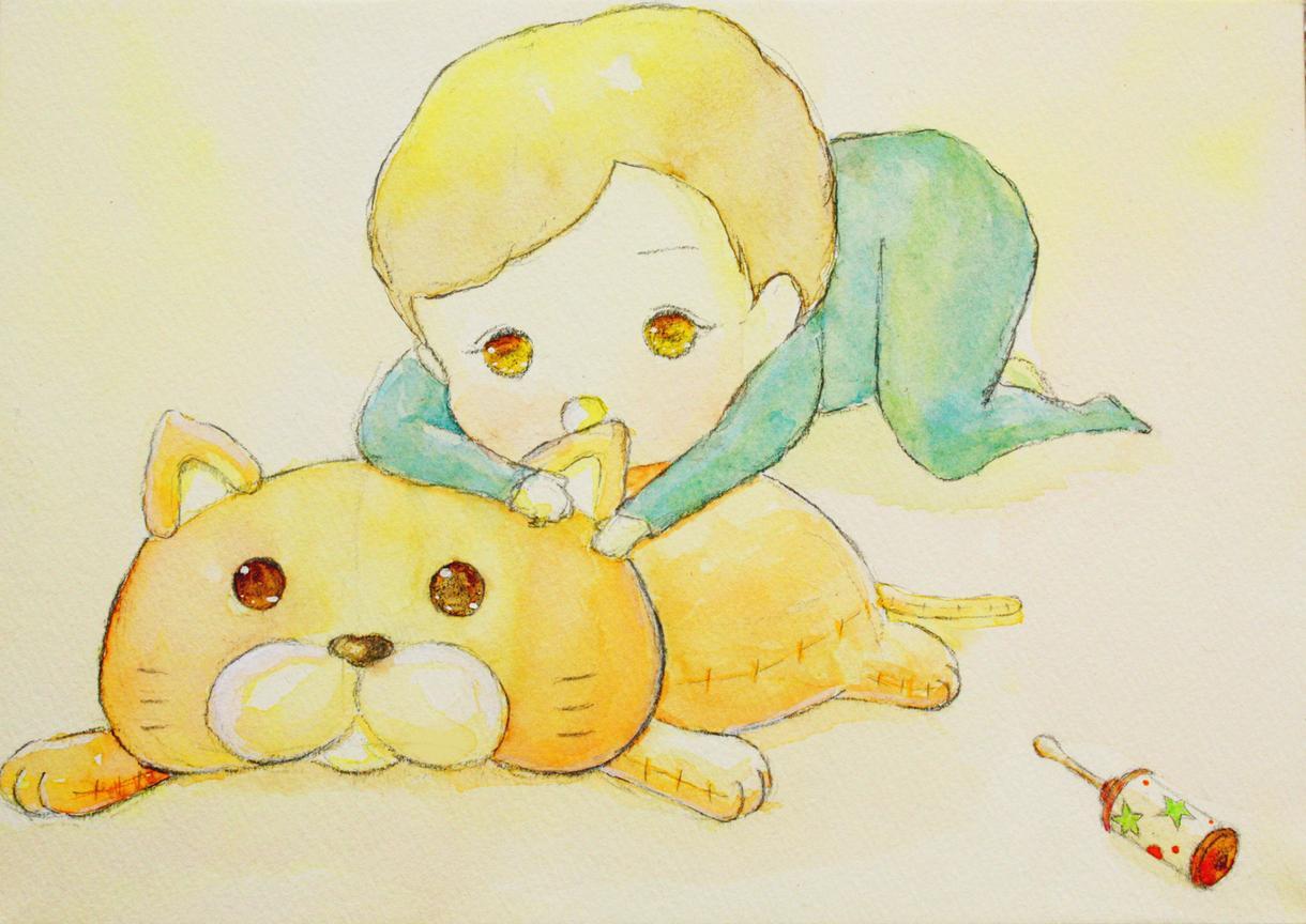 少女と動物のデフォルメキャラ