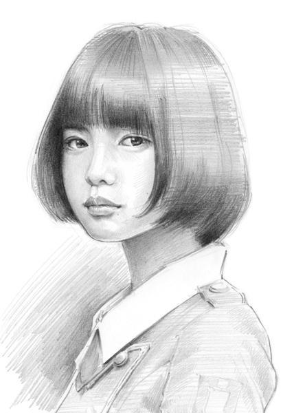 お写真から似顔絵作成致します スケッチ風鉛筆画タイプ・リアルな似顔絵が希望の方に・ペット可