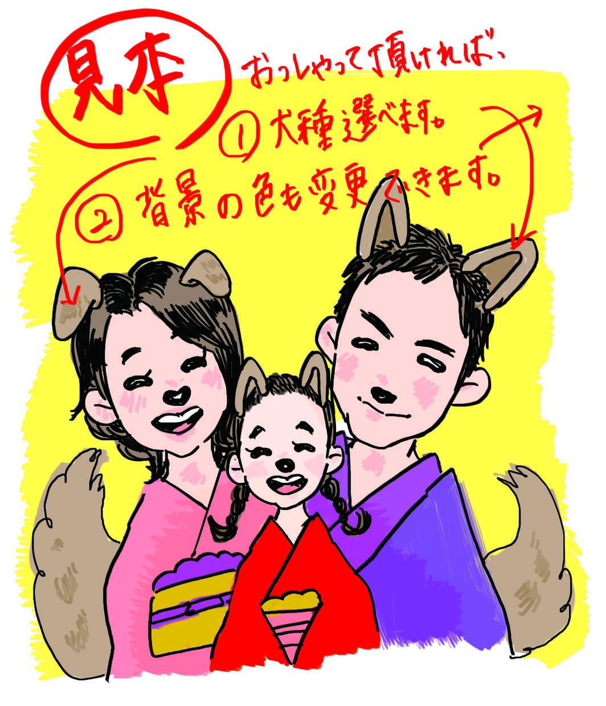 来年の干支『戌年×家族 』の似顔絵描きます 写真を送るだけでおんりーワン!な年賀状!
