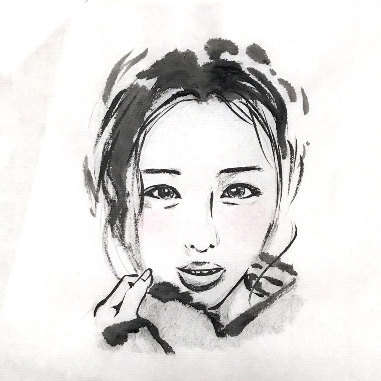 墨絵調の似顔絵制作します 個性的な似顔絵を作ってみたい方に!