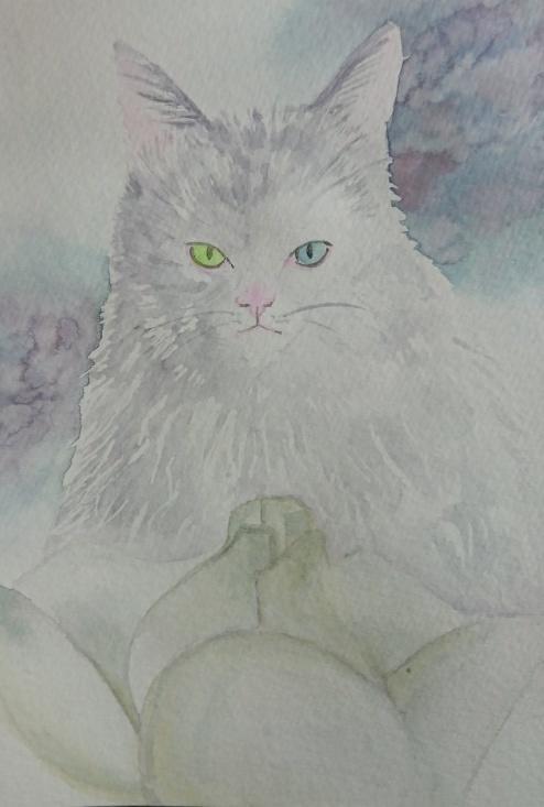 水彩で猫ちゃんの絵、ハガキサイズでお描きします 記念★思い出やプレゼントに★色鮮やかな贈り物を★