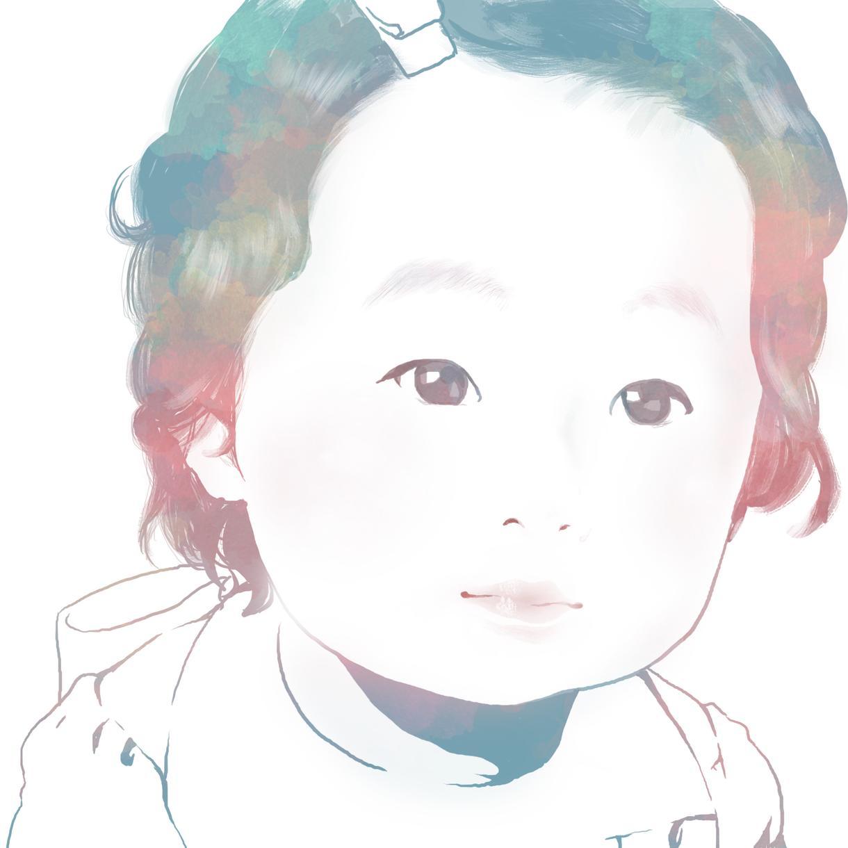 お子さん似顔絵描きます リアルタッチのアイコンを写真から制作