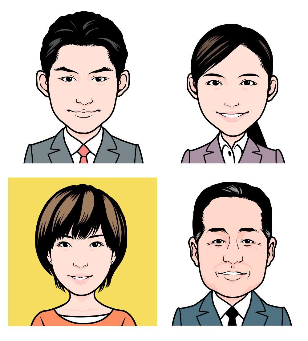 ビジネスや個人向けの似顔絵制作承ります 名刺やホームページ、SNS用アイコン等がポップな印象に!