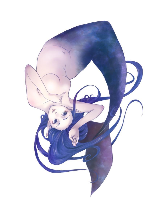 あなたのお好みの人魚描きます 表情、色、髪型、尖った耳…あなたのオーダーで人魚を描きます
