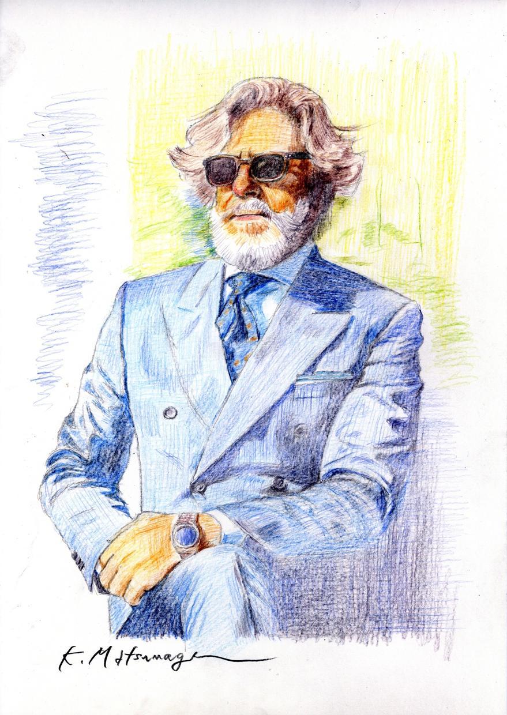 色鉛筆で描いた似顔絵、パソコンイラストを販売します イタリアの雑誌に掲載され、現在インスタでも公開中!