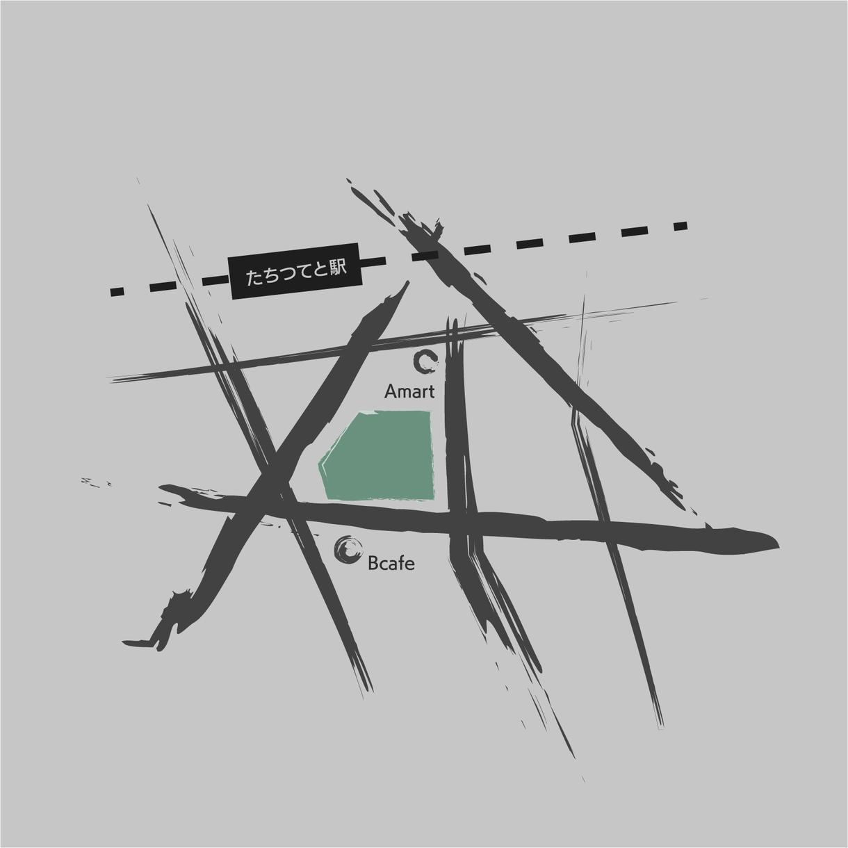 シンプルでおしゃれな地図を作成いたします 名刺・ブログやHP等に掲載できるおしゃれな地図はいかがですか