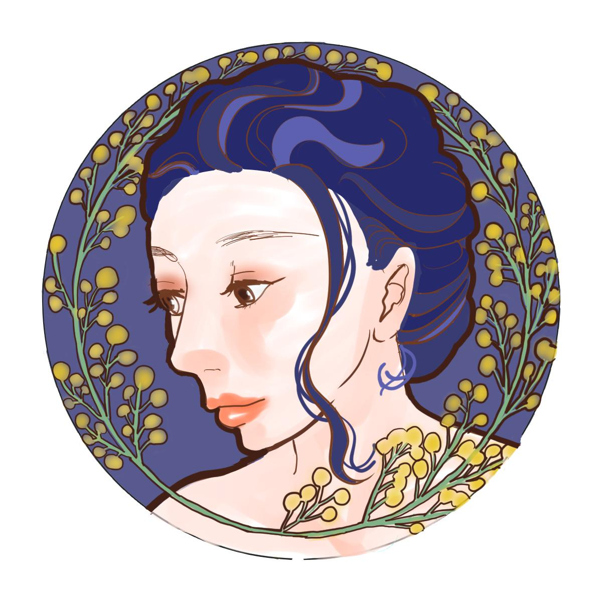 あなただけのミュシャ風アイコン描きます あなたのお好きな花,色を取り入れたミュシャ風のアイコン。