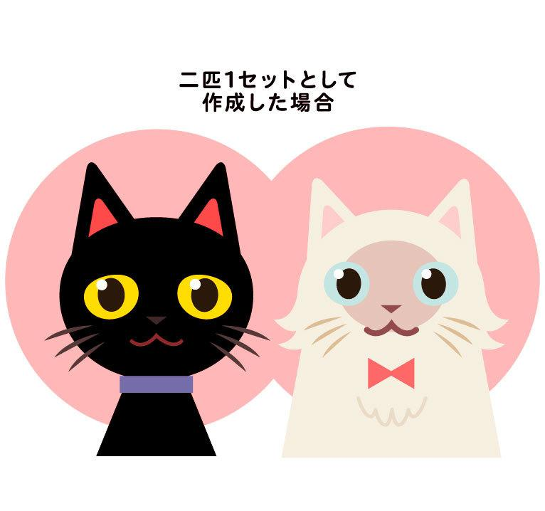 フラットでシンプルな猫ちゃんの似顔絵描きます あなたのペットを可愛いイラストに!