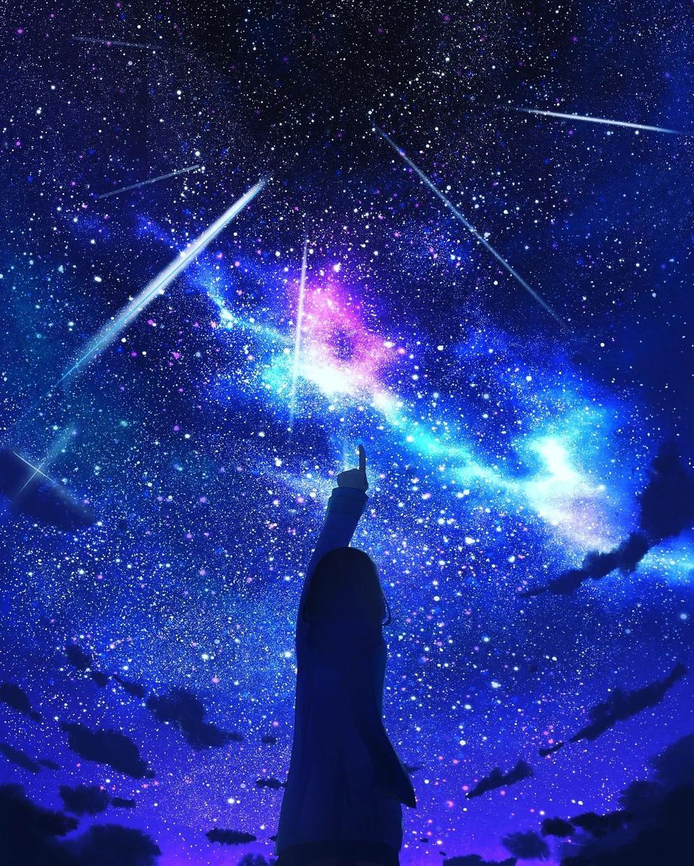 綺麗な星空のイラストを描きます 様々なところで使える星空メインのイラストを描きます。 イメージ1