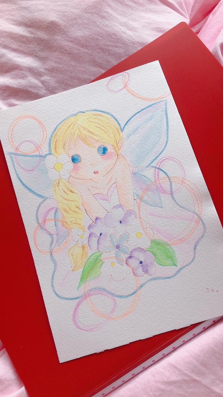 水彩色えんぴつであなたの守護天使さまお描きします アナログならではの暖かみのあるイラストです( *´︶`*)