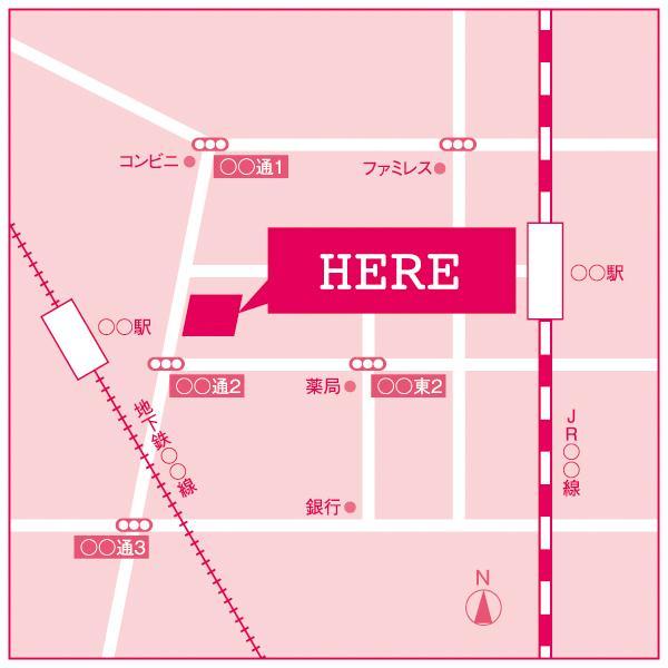 グラフィックデザイナーがオリジナル地図を制作します 原稿なしで住所をご連絡頂くだけでもOK!