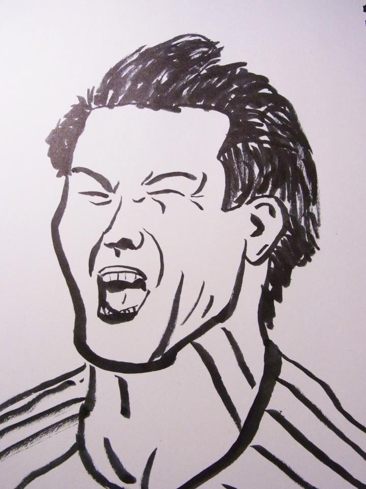 筆ペンで似顔絵描きます。