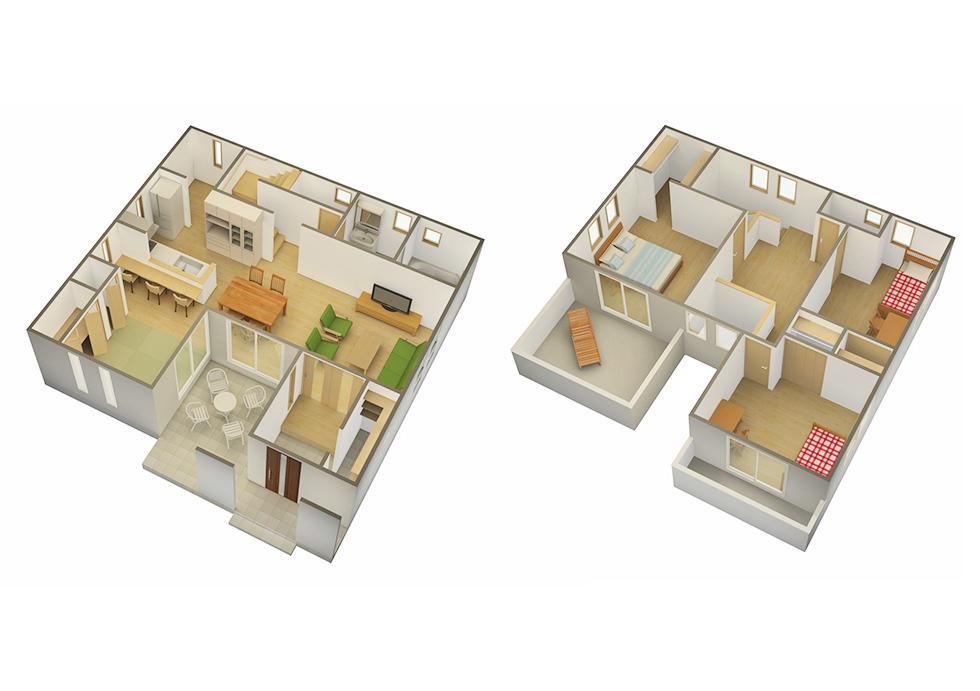 3Dの間取り図を作成します 間取図を3D化しませんか。カタログや作品集にもおすすめ