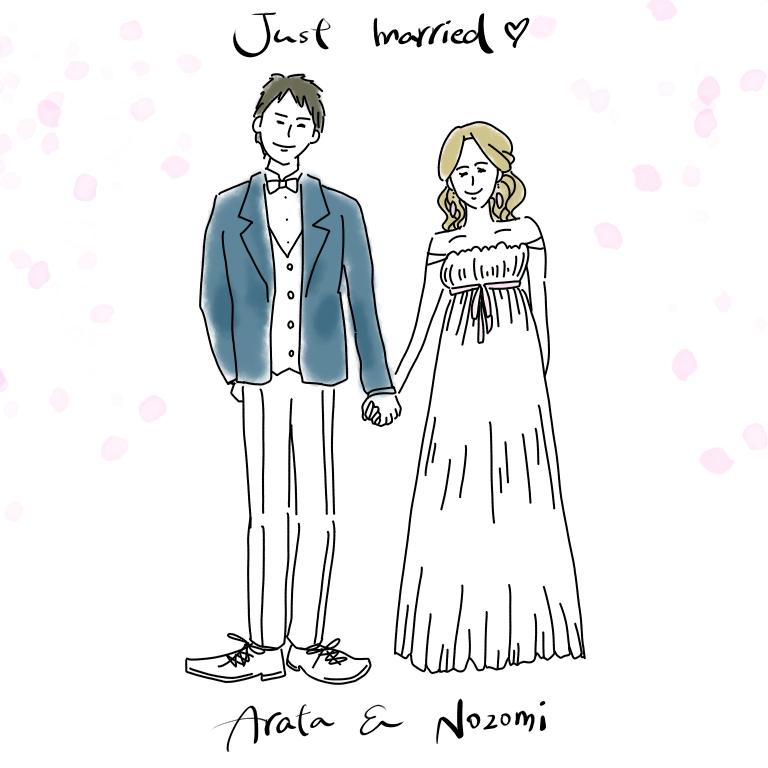 着用写真がなくてもOK!結婚報告イラスト描きます 【元ドレススタイリストが心を込めてお二人の幸せを形にします】