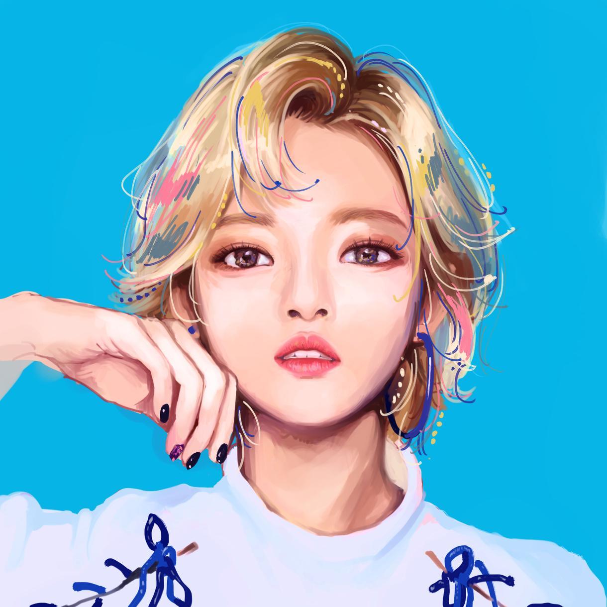 女の子♡水彩厚塗り風のアートな似顔絵描きます 自分や友人へのギフトの他、好きな芸能人をアートとしても