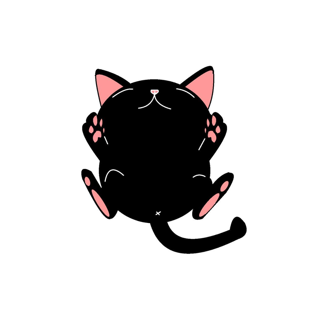 ねこイラストでます 白猫黒猫のあおむけまったりイラスト イメージ1