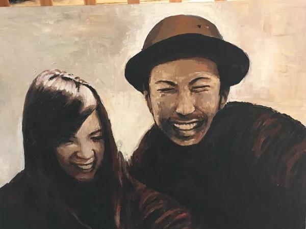 水彩画で似顔絵を描きます 手描きで、温かみのある絵を描きます。
