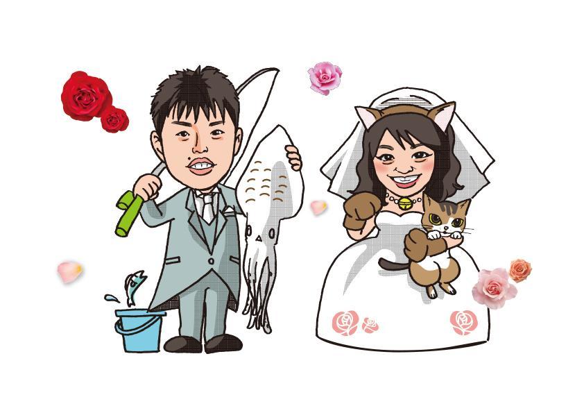 名刺イラスト、結婚式用プロフィールに使えます プロのグラフィックデザイナーが制作するデジタルイラスト。